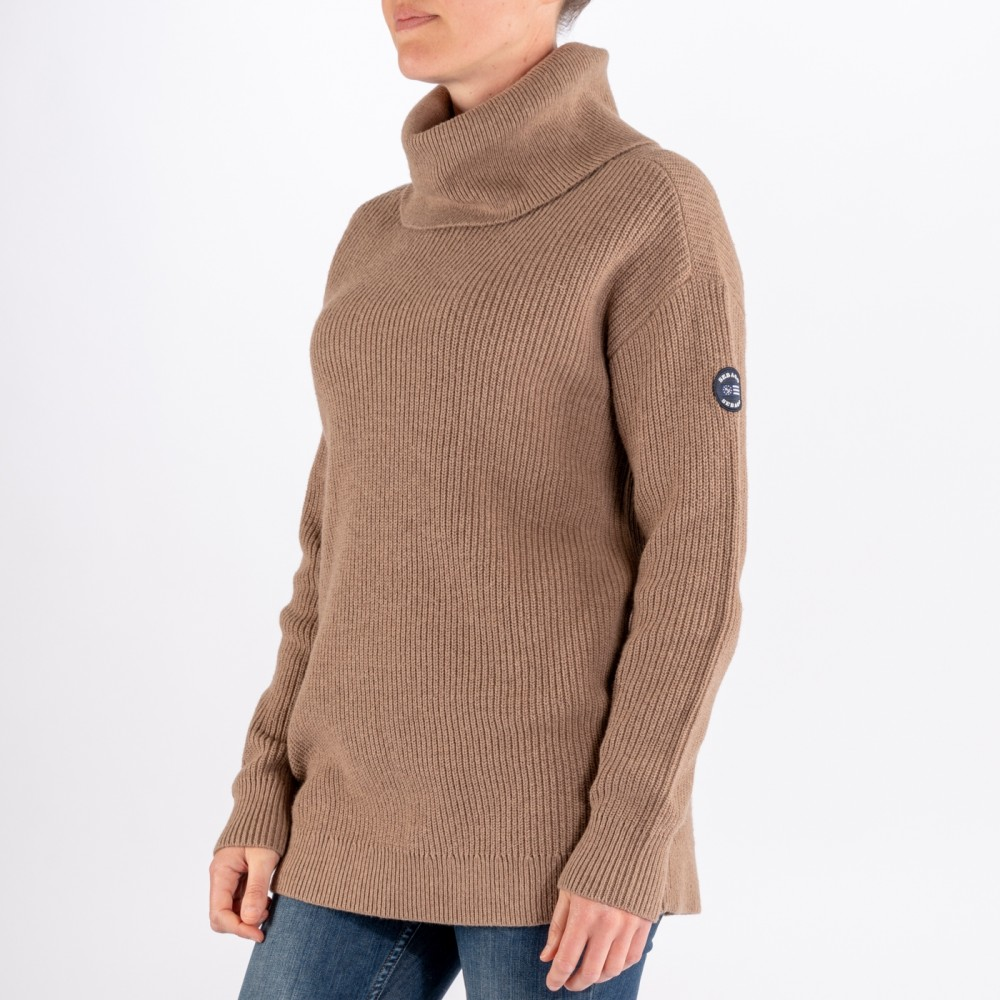 Relaxed Knitted Roll Neck, Camel Brown-01