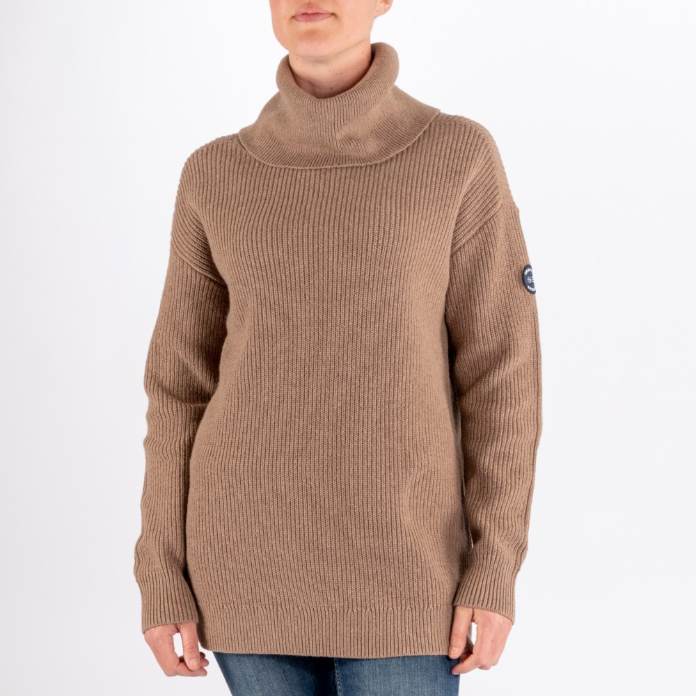 Relaxed Knitted Roll Neck, Camel Brown