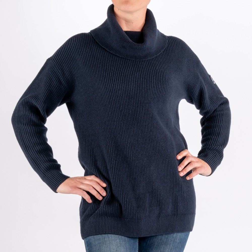 Relaxed Knitted Roll Neck, Navy Blue