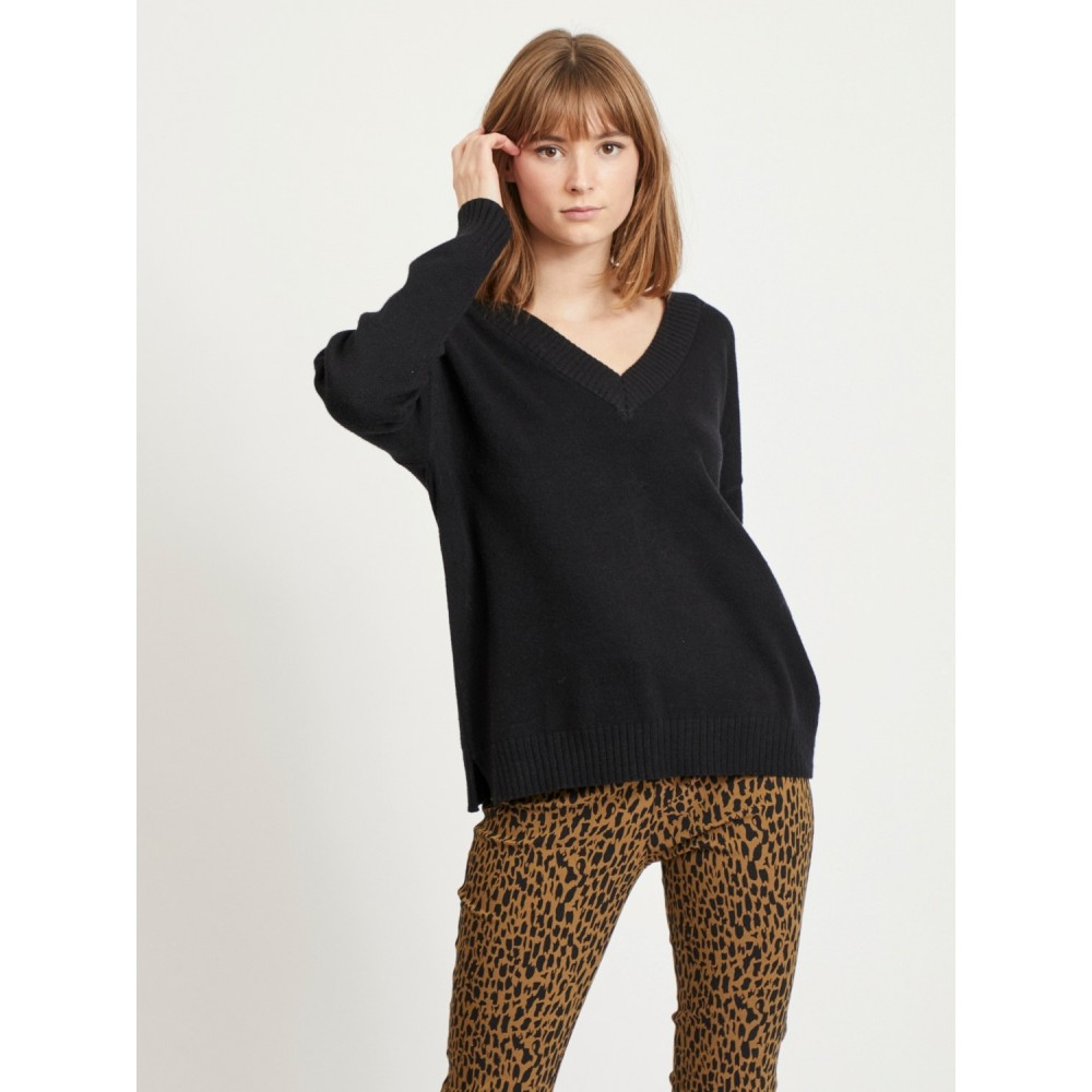 Viril oversize v-neck - Black