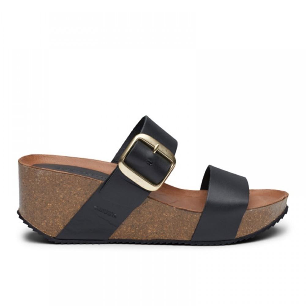 New Adele cork sandal - black