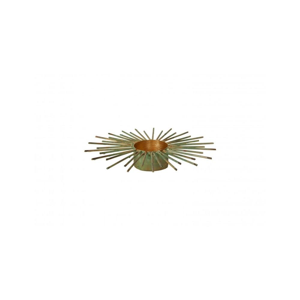 Lysestage fyrfad grøn metal 16cm