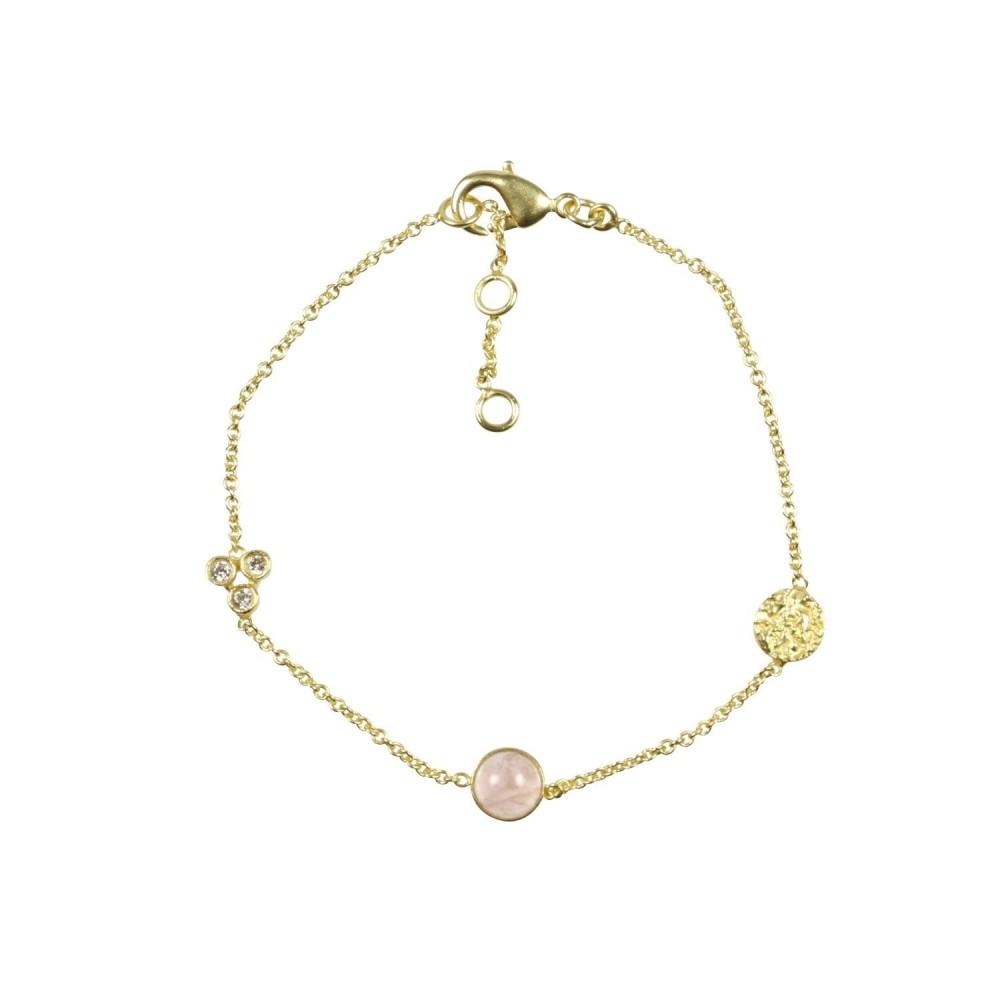 Armbånd m. vedhæng, rosa kvarts, guldbelagt
