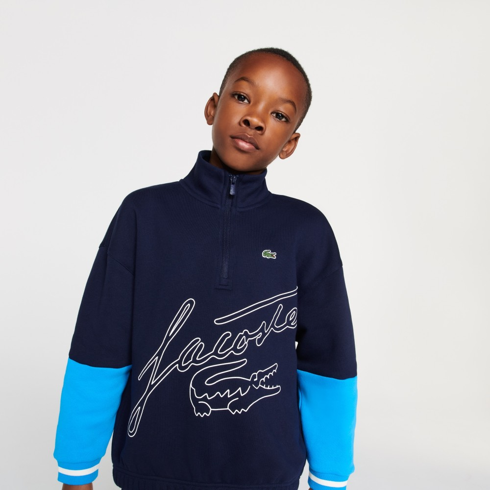 Boys' Zip Neck Print Bicolour Fleece Sweatshirt