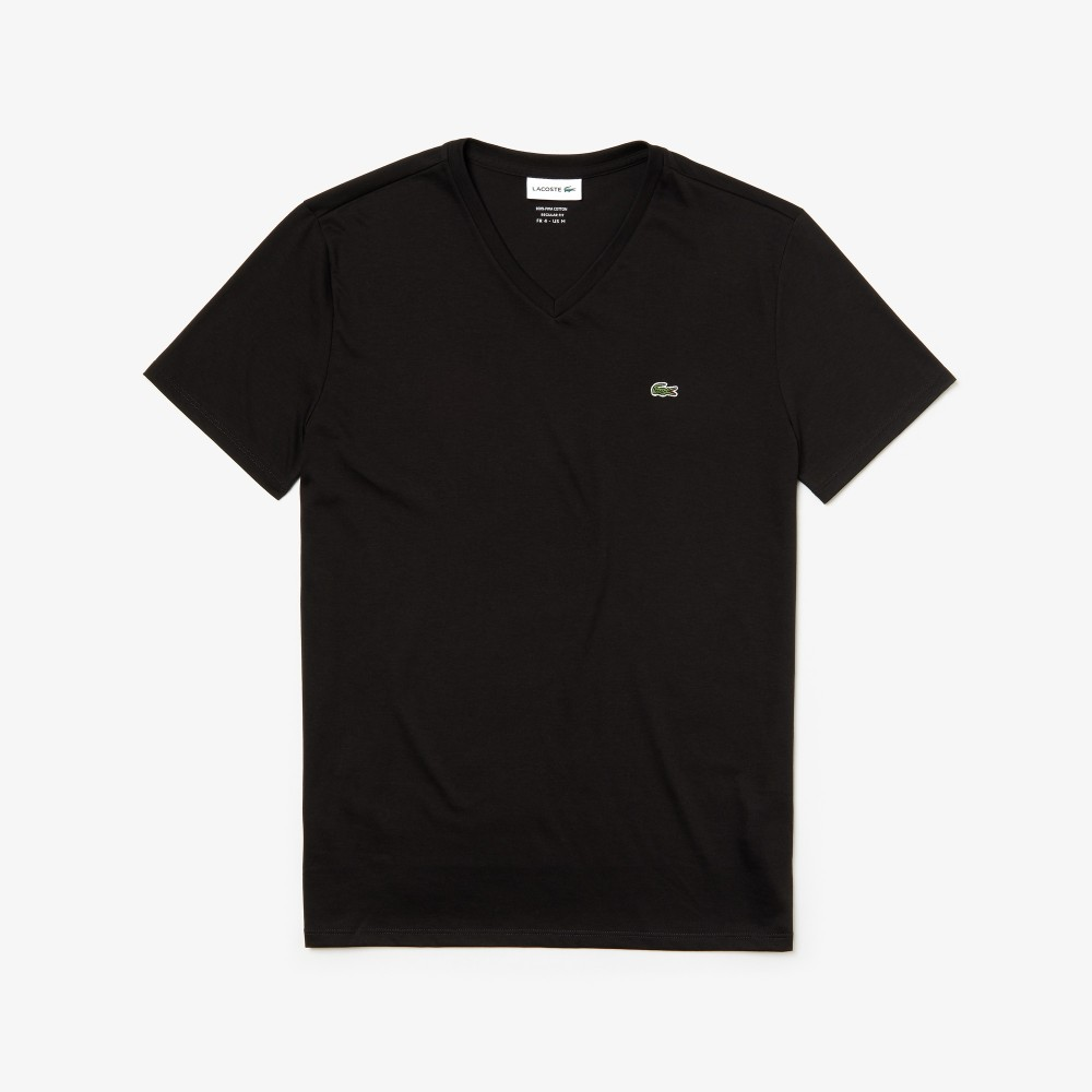 Lacoste 3 V-neck Slim T-shirts - black