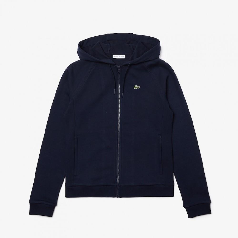 Women's Lacoste SPORT Hooded Fleece Zip Tennis Sweatshirt, navy