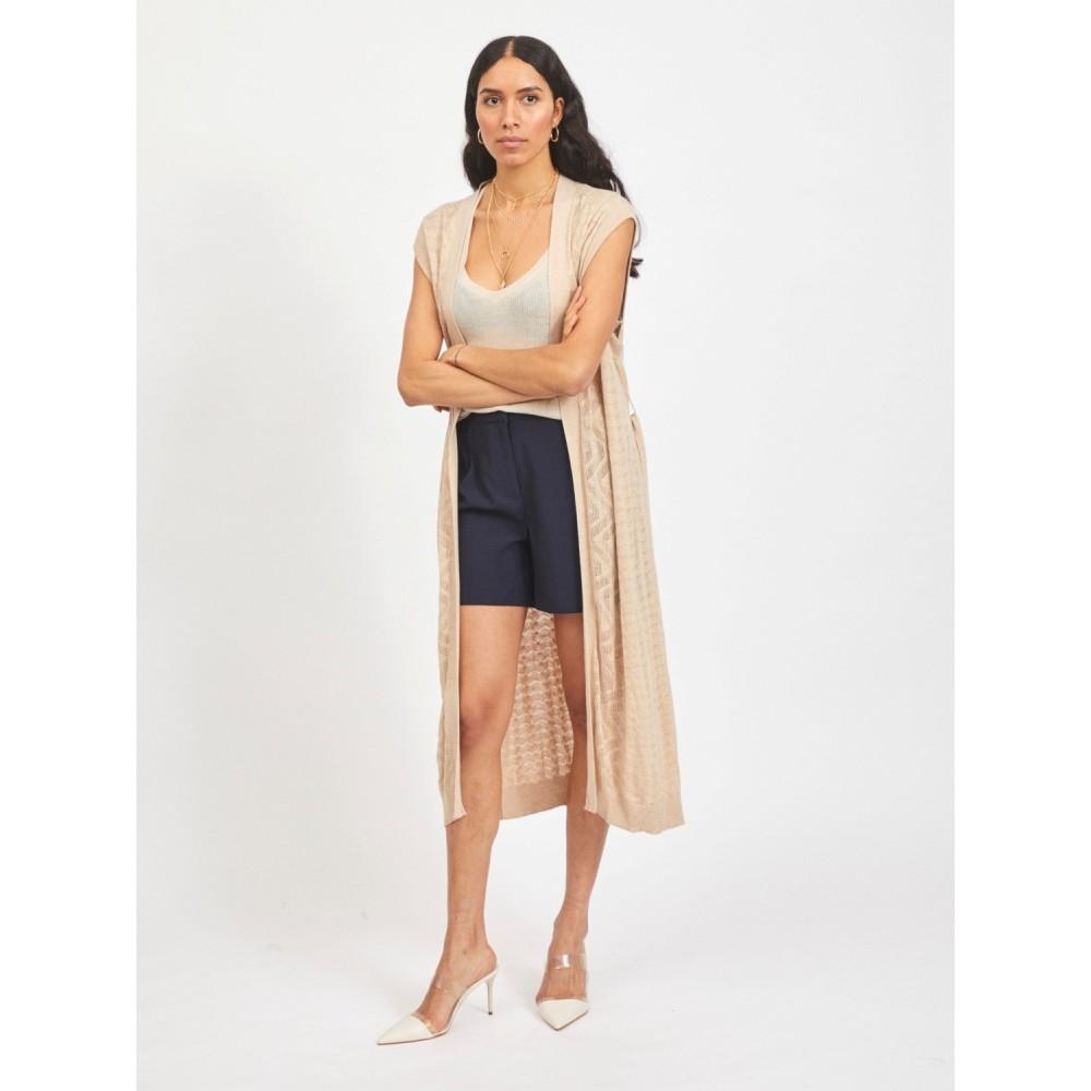 Vilesly long knit vest - natural melange