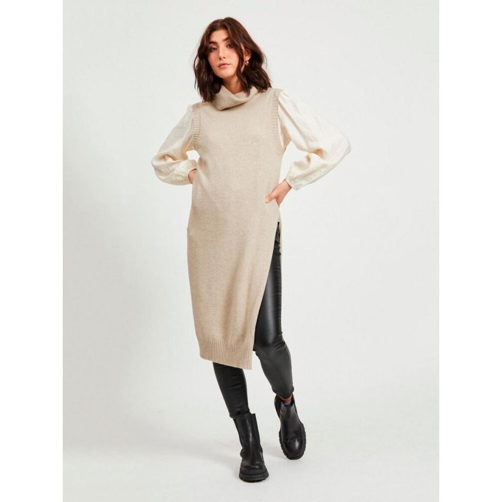 Viril long S/L knit vest- natural melange