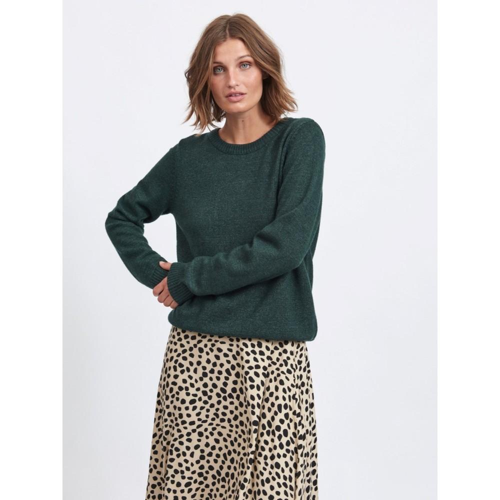 Viril O-neck l/s knit - darkest spruce