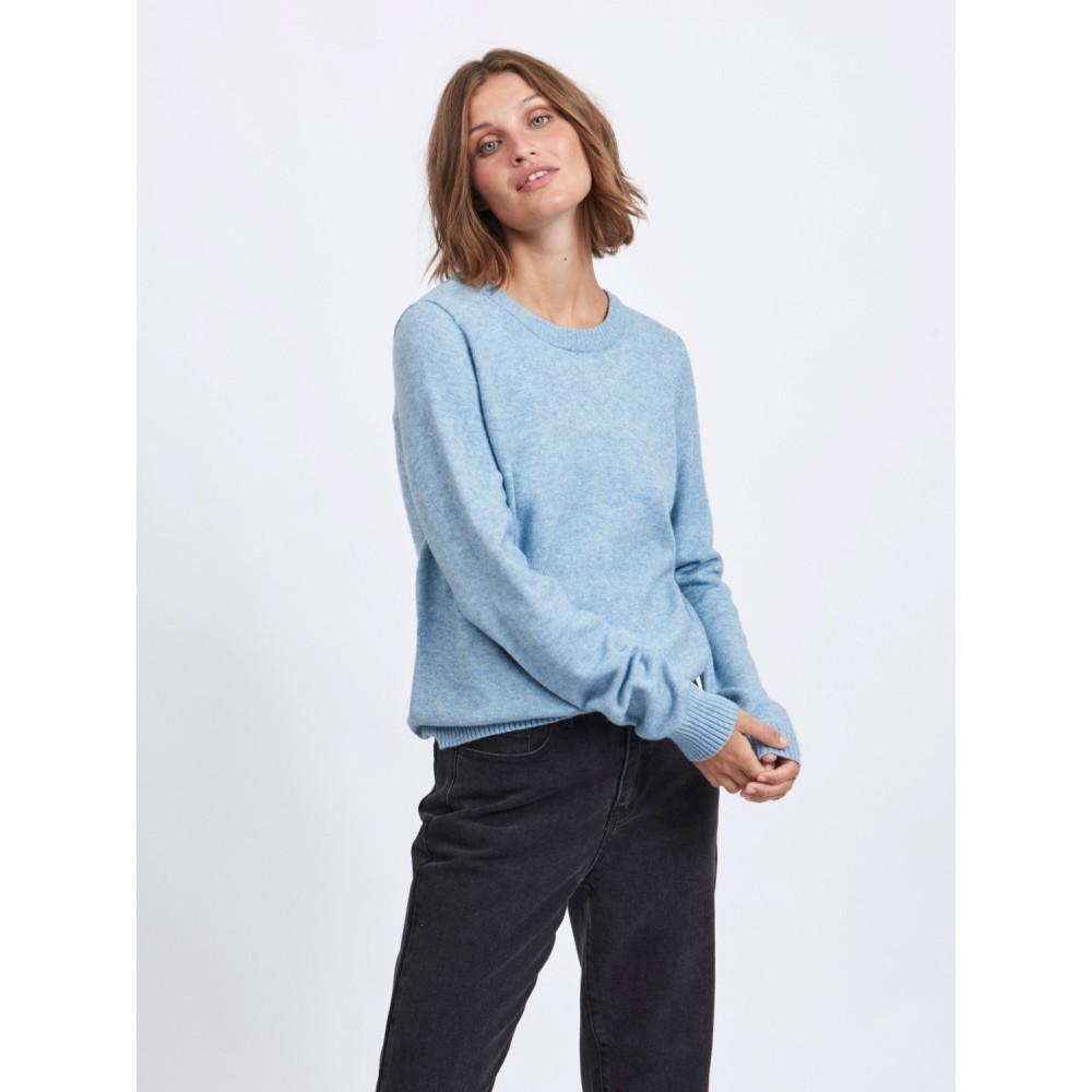 Viril o-neck L/S knit - blue