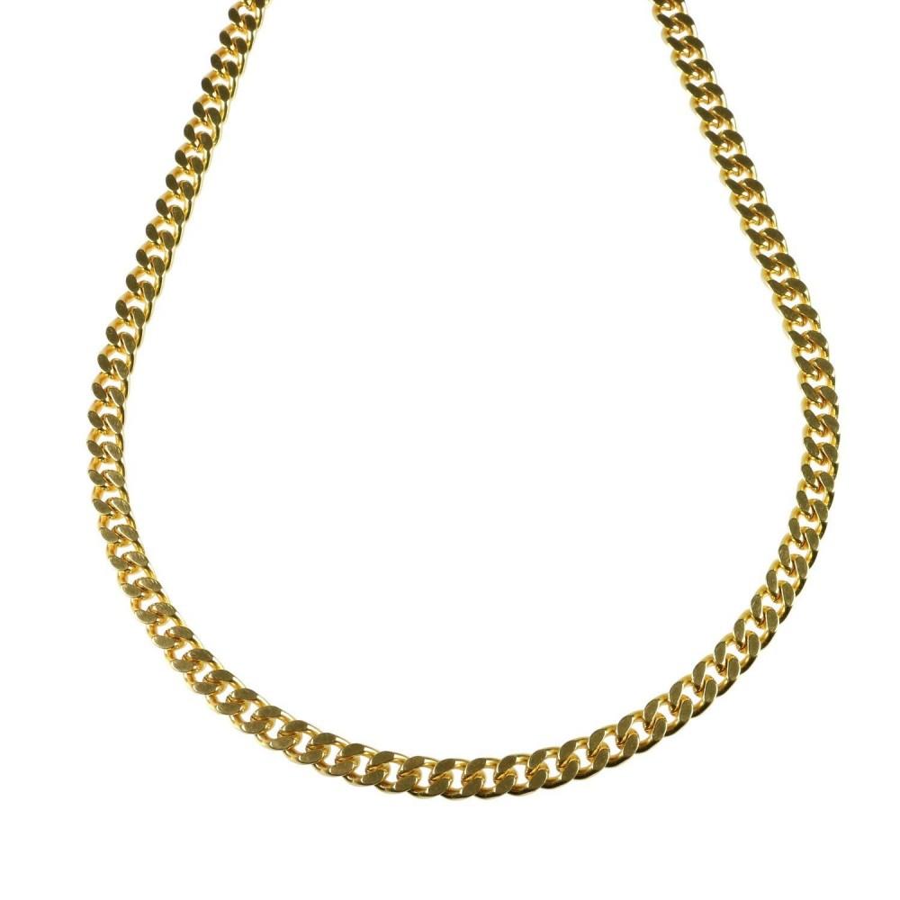 Kort cubansk lænkekæde, guldbelagt