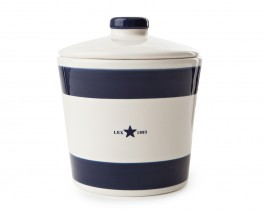 Earthenware Cookie Jar Blue Striped-20