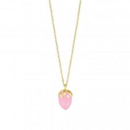Lang kæde m. dråbesten rosa chalcedon, guldbelagt-20