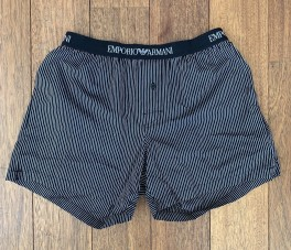 Woven Cotton Boxershorts, black striped-20