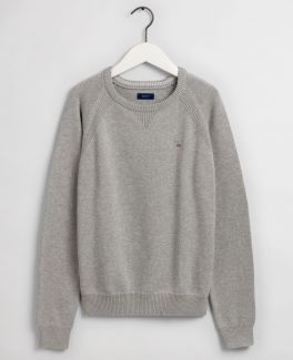 Casual Cotton Crew, light grey melange-20