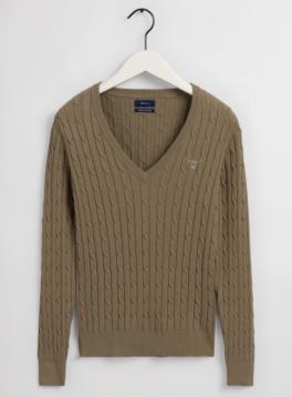 KabelsweaterafstrkbomuldmedVhals-20