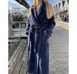 Sauna ladies' robe shawlcollar 130 cm, navy