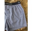 Woven Cotton Boxershorts, blue checked w. dots