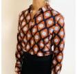 Emily skjorte, orange/mørkeblåt mønster