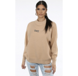 Rock & Roll Slogan Round Neck Jumper Beige