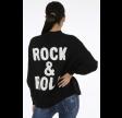 Rock & Roll Slogan Round Neck Jumper Black