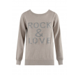Rock & Love Slogan Ribbed Jumper Beige