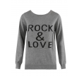 Rock & Love Slogan Ribbed Jumper Grey