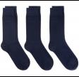 3-Pack Soft Cotton Socks, Marine