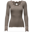 Silk t-shirt regular Is w/wide lace, brown