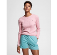 Stretch cotton cable crew - preppy pink