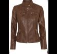 Biker jacket with collar - dark cognac