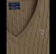 Kabelsweater af strækbomuld med V-hals