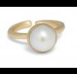 Ring med sten - hvid perle
