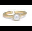 Ring med perle - hvid