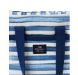 Blue striped cotton canvas cooler bag